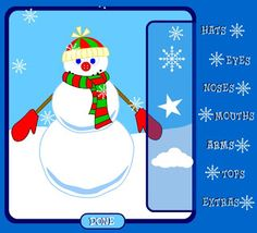 Build Your Own Snowman.several interactive sites. Could use Promethean/Smartboard. Snowman Games, Make A Snowman, Seasons Activities, Winter Activities, Advent Activities, Groundhog Day, School Gifts, School Fun, School Stuff