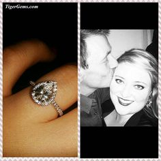 """Awwww! I love seeing my clients happy and in love.❤️ """"Thank you so much for my beautiful engagement ring! My fiancee purchased the 1.5 carat Pear Cut bridal set, and I'm absolutely in love with it! Your work is truly stunning, and I just wanted to send a photo of who would be wearing this amazing ring! Thank you again!"""" ❤️ My beautiful client is wearing the 1.5 carat pear cut halo ring. Simple and elegant, this design is timeless! ✨ Shop Now at www.TigerGems.com. ✨💍💎"""