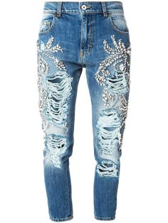 Marco Bologna crystal embellished distressed jeans