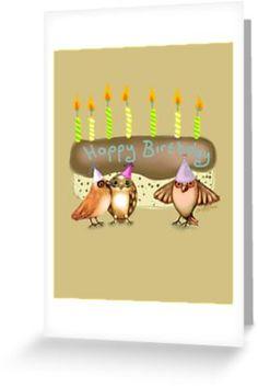 'Happy Birthday Birds with Cake' Greeting Card by Cherie Roe Dirksen Happy Birthday Birds, Birthday Fun, Wall Prints, Fine Art Prints, Birthday Design, Print Store, Kraft Envelopes, Stationery, Greeting Cards