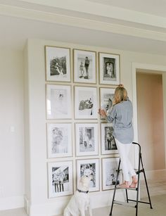 Black and white photo wall gallery by Ivory Lane