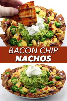 Forget tortilla chips! This nacho recipe use weaves of bacon instead! It's perfect if you're following a keto or low carb diet! Bacon Recipes, Lunch Recipes, Mexican Food Recipes, Healthy Recipes, Yummy Recipes, Keto Recipes, Yummy Food, Bacon Chips, Tortilla Chips