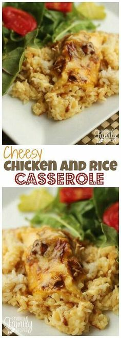 This Cheesy Chicken and Rice Casserole is an easy chicken casserole recipe for a busy day. Only a few minutes of prep work and the oven does the rest! #casserole #chickencasserole