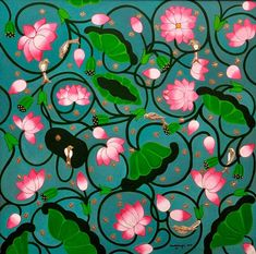 Lotus Flower Art, Lotus Art, Kerala Mural Painting, Madhubani Painting, Pichwai Paintings, Indian Art Paintings, Lotus Painting, Lotus Pond, Indian Folk Art