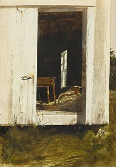 Andrew Wyeth (1917 — 2009, USA)  The new table. 1964  watercolor on paper. 28 x 20 in. (71.1 x 50.8 cm)