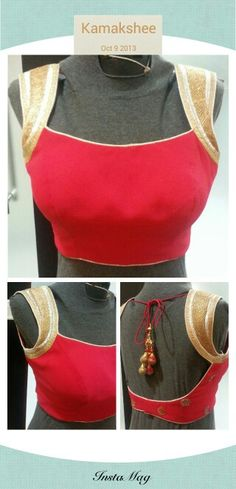 Red blouse with white sleeves. Might go well with a plain Kerala saree
