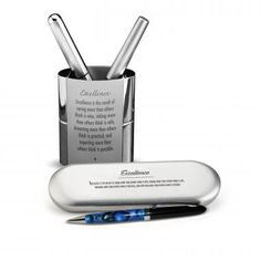 Excellence Chrome Pen Gift Set from Successories Pen Sets. A perfect desktop gift combination this set includes a metal pen cup. Admin Professionals Day, Bosses Day Gifts, Employee Appreciation Gifts, Metal Pen, Desk Set, Pen Case, Pen Sets, Low Lights, Quote Prints