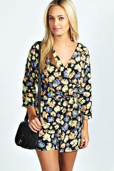 Perla Wrap Over Floral Playsuit at boohoo.com