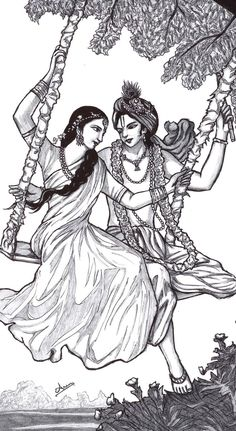 wanted to draw it. coz it was so beautiful n cute ^^ Hare Krishna^_^ Krsna_Radha_swing Radha Krishna Sketch, Krishna Drawing, Krishna Painting, Krishna Art, Radhe Krishna, Lord Krishna, Shiva, Girl Drawing Sketches, Art Drawings Sketches Simple