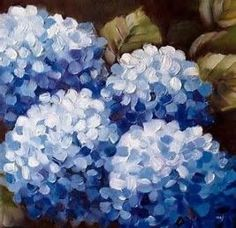 37 ideas flowers blue painting acrylic for 2020 Hydrangea Painting, Acrylic Painting Flowers, Blue Painting, Acrylic Art, Painting & Drawing, Watercolor Paintings, Flower Paintings, Flower Watercolor, Diy Painting