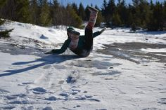 Hazel Stark - Sliding on snow-covered ice at the top of a mountain the day after a blizzard in Maine - Mt. Waldo, Frankfort, ME  #mukluk  #stegermukluks