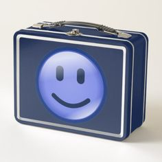 blue smiley metal lunch box - kitchen gifts diy ideas decor special unique individual customized