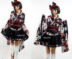 Robe gothic lolita geisha kimono Top+Skirt+Belt Size M