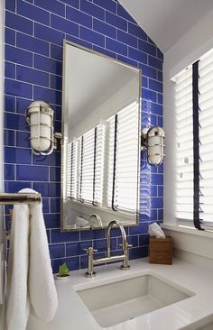 Cobalt Blue Bathroom Ideas - Are you looking for some interior embellishment ideas for home? There is no doubt that house is a no question important place. Bathroom Floor Tiles, Bathroom Colors, Bathroom Sets, Bathroom Sconces, Boy Bathroom, Master Bathroom, Blue White Bathrooms, Nautical Bathrooms, Small Bathrooms