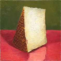 """Big Buff Tomme"" - 8x8"" oil on panel #cheeseportrait of a #cheese from Terrell Creek Farm, in the Ozark Hills of Missouri. #painting #cheeseart #art #TerrellCreek available for sale at mikegeno.com"