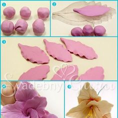 Unique Handmade Polymer Clay Flowers. This could work for cake decorating using gumpaste or modeling chocolate or   modeling fondant.