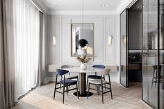 Grey Based Neoclassical Interior Design With Muted & Metallic Accents - Decorasium