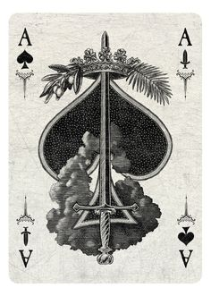Arcana Playing Cards by Chris Ovdiyenko -- Kickstarter. Playing cards inspired by the Tarot. Arcana is a new deck of custom hand-drawn playing cards printed by USPCC. Ace of Spades/Swords light