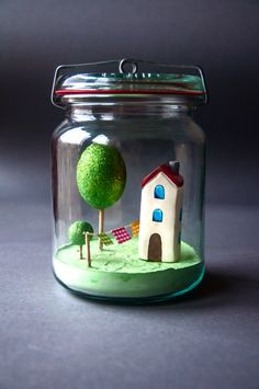 jar, handmade, house
