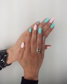 New Year Nails; Source by ecumony Related posts: 35 Extremely Cute Candy Nail Art Design; Cute Nails, Pretty Nails, Nagellack Design, Mint Nails, Rainbow Nails, Nail Colors, Candy Colors, Nail Colours Summer 2018, Winter Colors