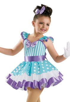 Girls' Striped and Dotted Dress; Weissman Costumes(polka dots, checks, and stripes) Cute Dance Costumes, Candy Costumes, Ballet Costumes, Girl Costumes, Halloween Costumes, Dance Outfits, Dance Dresses, Hip Hop, Pageant Wear