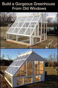 Don't waste those old windows. Turn them into a greenhouse. Old Window Greenhouse, Greenhouse Kitchen, Lean To Greenhouse, Dome Greenhouse, Outdoor Greenhouse, Cheap Greenhouse, Portable Greenhouse, Greenhouse Ideas, Greenhouse Wedding
