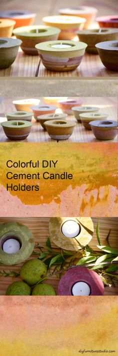 Colored with latex paint in the cement mix. Make candle holders and other colorful cement decor. Tutorial.