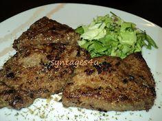 Εύκολες και γρήγορες συνταγές μαγειρικής για όλους: ΣΥΚΩΤΙ ΤΗΓΑΝΙΤΟ Greek Recipes, Steak, Food And Drink, Pork, Stuffed Peppers, Kitchen, Kitchens, Kale Stir Fry, Cooking