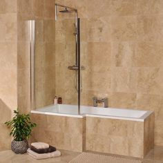 Our ultra modern Left hand L-Shaped square shower bath complete with a fixed glass bath screen. This version comes without any bath panels included allowing you to sit the bath into a recess and tile a surround. Bathroom Layout, Bathroom Colors, Small Bathroom, Bathroom Ideas, Bathroom Stuff, Bathroom Showers, Tiled Bath Panel, Bath Tiles, Corner Shower Enclosures