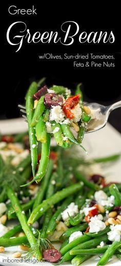 Delicious Greek flavors are found in these green beans. They have kalamata olives, sun dried tomatoes, feta, pine nuts and dill. Great salad or side to your favorite grilled chicken, fish or beef.                                                                                                                                                     More