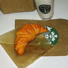 Starbucks Butter Croissant Perfect Fit for American girl and 18 inch Dolls, Doll Food, AG Doll Food, Croissant for Dolls, AG Bakery Pastries by DreamyDollsLife on Etsy