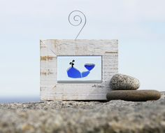 Whale, Sea Glass Mini Window Art by Tricia Granzier, Owner, Coast to Cottage on Etsy.  Sea glass art, paintings, prints, notecards and more.   #beachlover