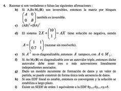 Ejercicio 4 del Examen de Matemática 2 (ADE, ULL). 8 Setiembre 2005. Tema: Matrices
