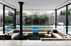 A sunken lounge room surrounded by a pool is naturally the centerpiece of this home renovation. Not just a sunken lounge Dream Home Design, My Dream Home, House Design, Living Room Without Sofa, Home And Living, Conversation Pit, Outdoor Lounge, Outdoor Decor, Brighton Houses