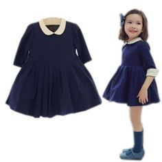 Girl Kid Clothes Round Collar Pleated Korean Princess Party Autumn Dresses 1-5Y