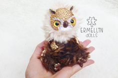 Brown Owl OOAK Art Doll Mixed Media Polymer clay by Ermellin