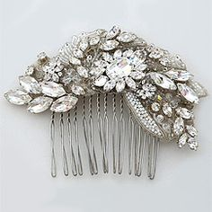 Laura Jayne Bridal, hair accessories.  Majestic crystal hair comb has a modern vintage look that can be worn in a variety of ways.  Pure glam.