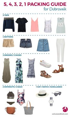 holiday packing Packing Guide for Dubrovnik Beach Vacation Outfits, Travel Outfit Summer, Summer Outfits, Cruise Vacation, Outfits For Hawaii, Hawaii Clothes, Beach Vacation Packing List, Vacation Travel, Beach Travel