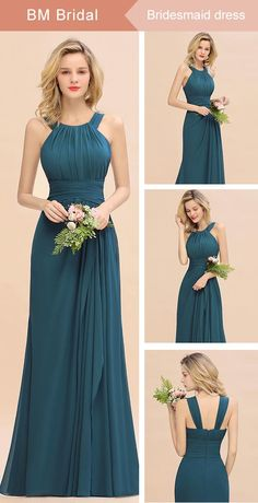 Elegant Round Neck Sleeveless Stormy Bridesmaid Dress with Ruffles Girls Bridesmaid Dresses, Pretty Prom Dresses, Designer Bridesmaid Dresses, Bridesmaid Dress Colors, Wedding Dresses, Lace Dresses, Stylish Dresses For Girls, Celebrity Dresses, Celebrity Style