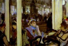 Women on a Cafe Terrace in the Evening - Edgar Degas Completion Date: 1877 Style: Impressionism Genre: genre painting Technique: pastel Gallery: Musée d'Orsay, Paris, France Canvas Art Prints, French Art, Artist, Painting, Impressionist Paintings, Oil Painting, Painting Reproductions, Impressionist, Edgar Degas Art