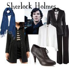 Sherlock Holmes for women Blouse, $40Long coat, $49H M cotton jacket, £30Wallis black wide leg pants, $42Wallis lace up boots, $35PASHMINA ART viscose shawl, €33