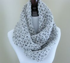 Gray Infinity Scarf Handmade Crochet Scarf Women's by TheComfyBaby