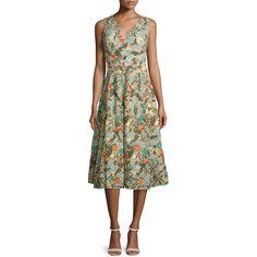 Alice + Olivia Jenn Sleeveless Floral Embroidered Dress ($2,005) ❤ liked on Polyvore featuring dresses, multi colors, sleeveless dress, green a line dress, a line tea length dress, v neck a line dress and multi color dress