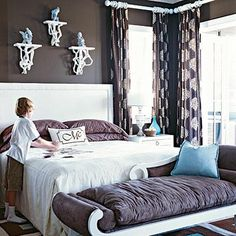 this makes me want to incorporate chocolate brown into my dark muted lavender bedroom theme color...