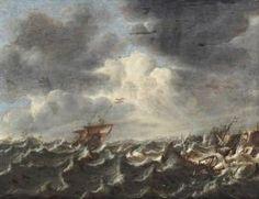 WOU Claes Claesz. Schepen Op Woeste Zee Voor Een Rotskust