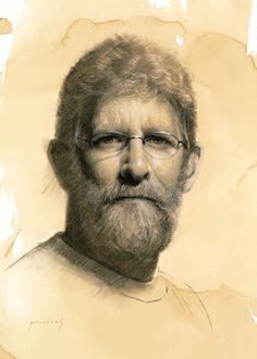 Clay Bennett • Charcoal and white chalk on toned paper // Cindy Procious