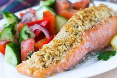 Pavé de saumon, parmesan et noisettes