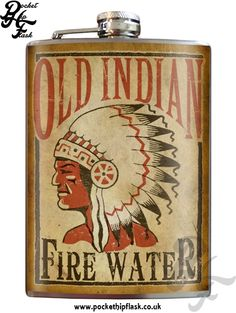 Art inspired stainless steel Indian fire water hip flask @ The Pocket Hip Flask Company:
