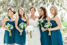 Amsale Bridesmaids wear Pacific Chiffon in various short styles!  Photo via @bellabridesmaid