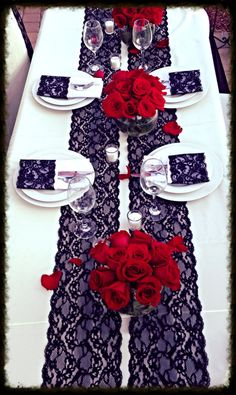 WEDDING Lace Table Runner 6ft Black 7In x by LovelyLaceDesigns, $9.95. Spanish style wedding